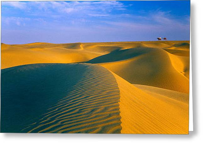 Sand Pattern Greeting Cards - Sand Dunes The Thar Desert, Rajasthan Greeting Card by Panoramic Images