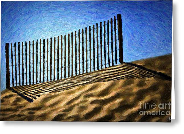 Sand Fences Paintings Greeting Cards - Sand Fence Greeting Card by Walt Foegelle
