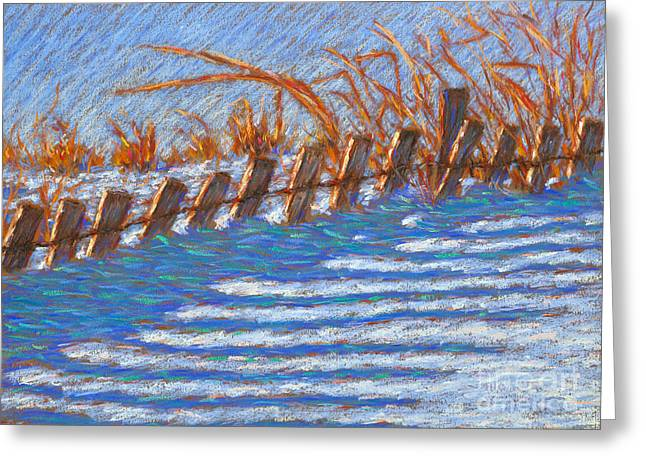 Sand Fences Paintings Greeting Cards - Sand Fence Winter Greeting Card by Bryan Allen