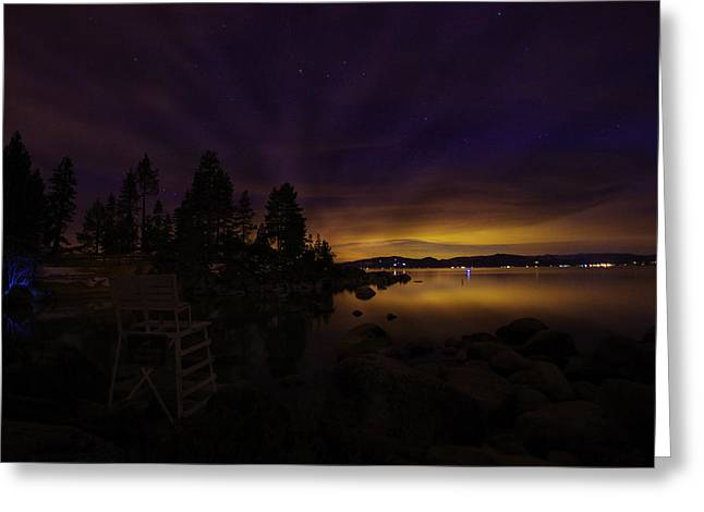 S Landscape Photography Greeting Cards - Sand Harbor Lake Tahoe Astrophotography Greeting Card by Scott McGuire
