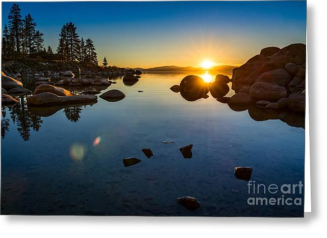 Calm Water Reflection Greeting Cards - Sand Harbor Sunset Greeting Card by Jamie Pham