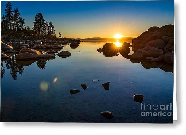 Sand Harbor Sunset Greeting Card by Jamie Pham