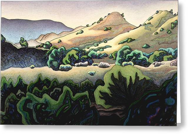 Santa Fe Mixed Media Greeting Cards - Sand hills of La Madero arroyo Greeting Card by Dale Beckman