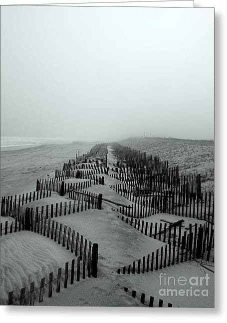 Foggy Ocean Greeting Cards - Sand in the Line Greeting Card by Robert Riordan