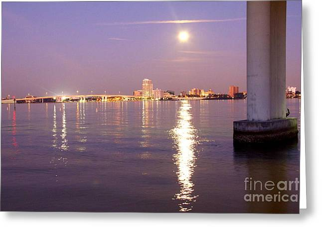 Moonrise Greeting Cards - Sand Key Moonrise II Greeting Card by Conni Walker