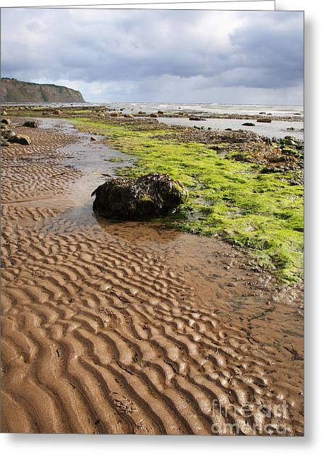 Recently Sold -  - Sand Patterns Greeting Cards - Sand patterns on Robin Hoods Bay beach Greeting Card by Deborah Benbrook