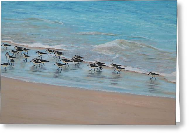 Sand Pastels Greeting Cards - Sand Piper on Parade Greeting Card by Joanne Grant