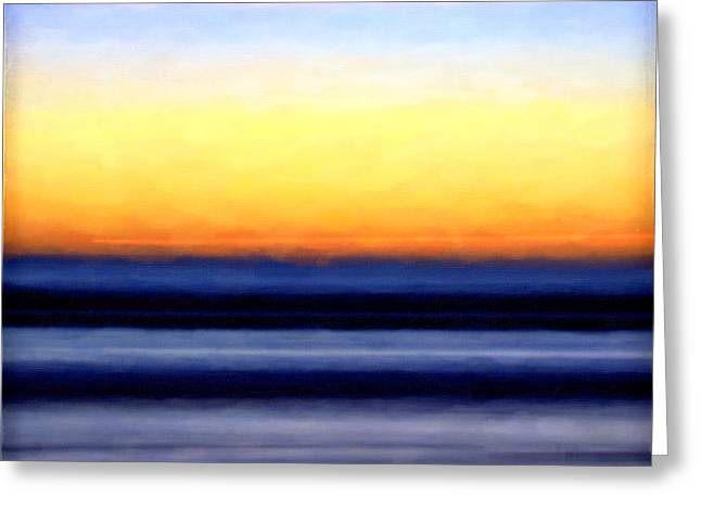 Yellow Line Greeting Cards - Sand Sea Sun and Sky Greeting Card by Vicki Jauron