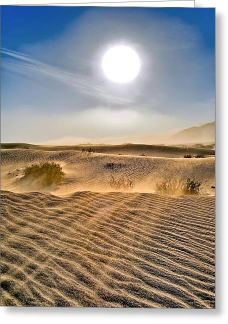 Fineartamerica Greeting Cards - Sand Storm in the Mesquite Dunes 2 Greeting Card by Tomasz Dziubinski