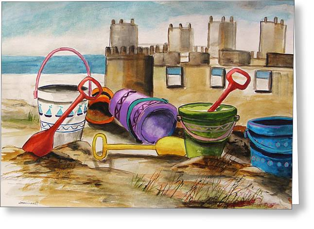 Sand Castles Drawings Greeting Cards - Sand Tools Greeting Card by John  Williams