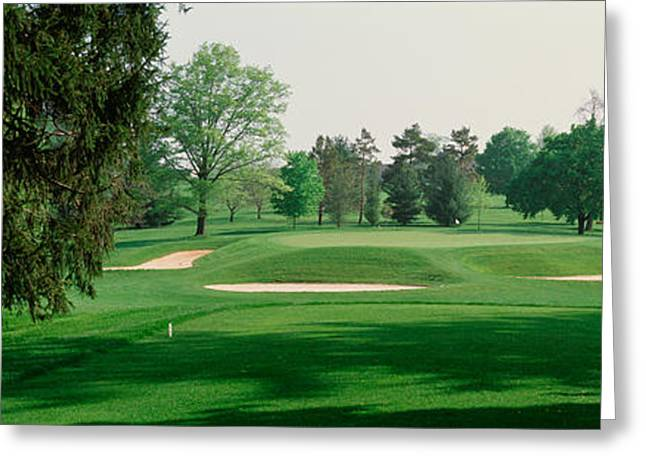Club Scene Greeting Cards - Sand Trap At A Golf Course, Baltimore Greeting Card by Panoramic Images