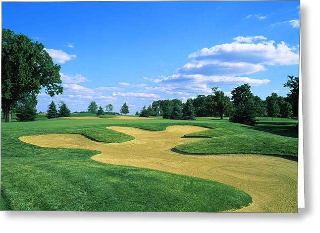 Urban Images Greeting Cards - Sand Trap In A Golf Course, Rich Greeting Card by Panoramic Images