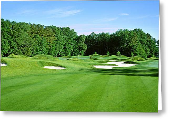 Worcester Greeting Cards - Sand Traps In A Golf Course, River Run Greeting Card by Panoramic Images