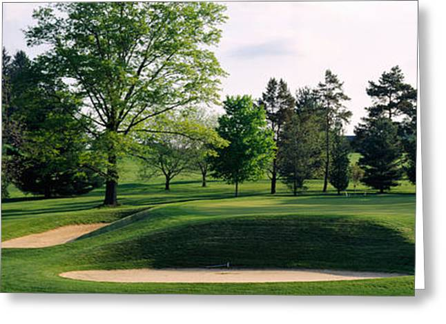 Sand Traps On A Golf Course, Baltimore Greeting Card by Panoramic Images