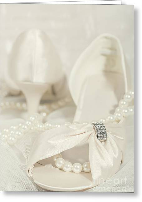 Elegant Bride Greeting Cards - Sandals And Pearls Greeting Card by Amanda And Christopher Elwell