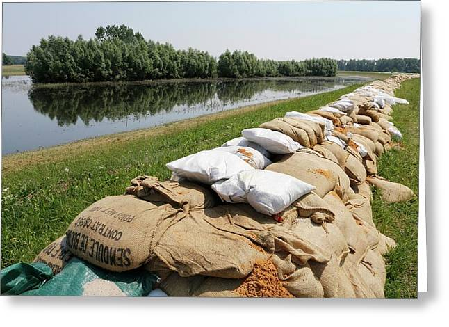 Sandbags On A Dike Greeting Card by Michael Szoenyi