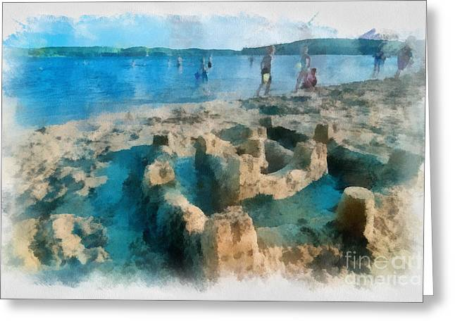 Sand Castles Greeting Cards - Sandcastle on the Beach Greeting Card by Amy Cicconi