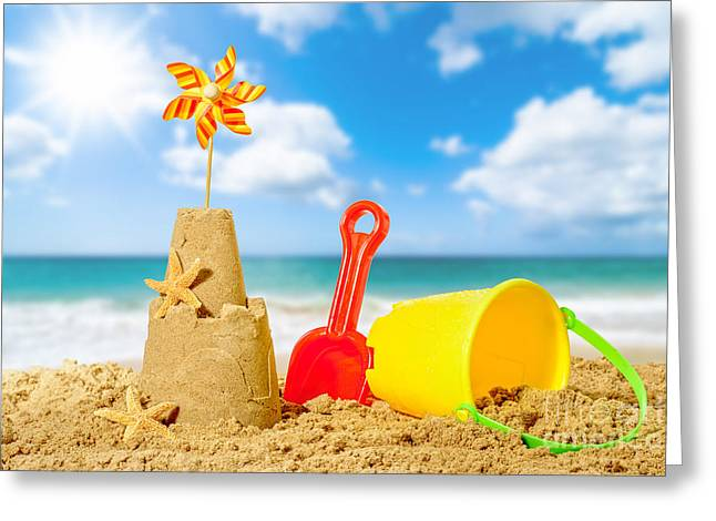 Golden Sand Greeting Cards - Sandcastle On The Beach Greeting Card by Amanda And Christopher Elwell