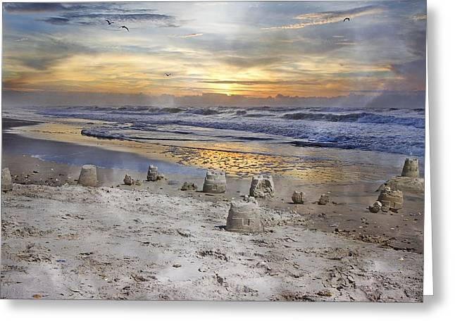 Vacant Greeting Cards - Sandcastle Sunrise Greeting Card by Betsy C  Knapp