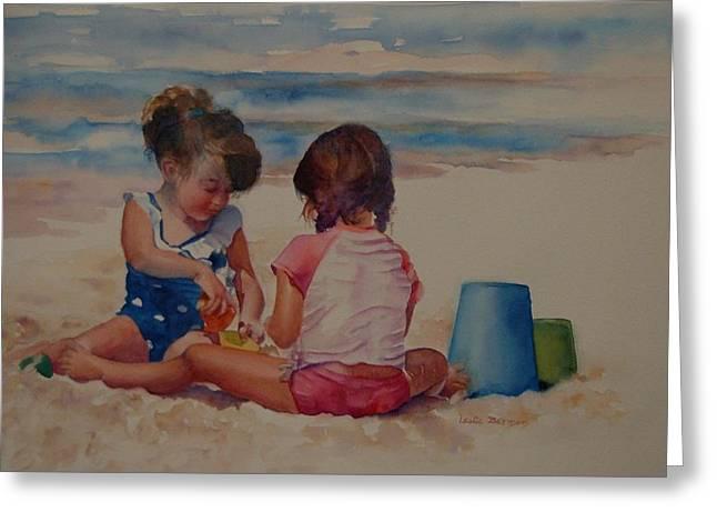 Mayflower Beach Greeting Cards - Sandcastles Greeting Card by Leslie Berman
