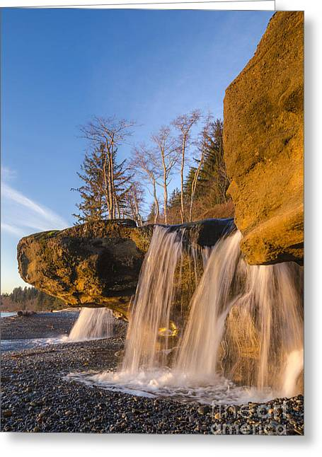 Juan De Fuca Provincial Park Greeting Cards - Sandcut Falls Greeting Card by Michael Wheatley