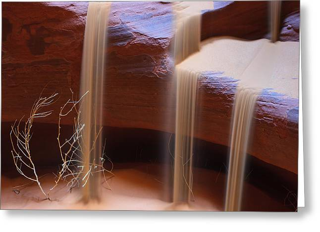 Acryl Greeting Cards - Sandfalls in Upper Antelope Canyon Greeting Card by Henk Meijer Photography