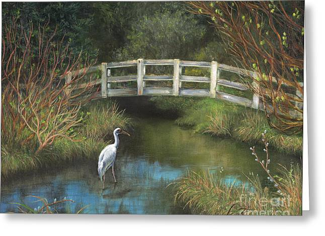 Sandhill Cranes Paintings Greeting Cards - Sandhill Crane at Spring Creek Greeting Card by Jeanette French