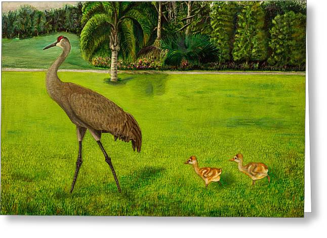 Sandhill Cranes Paintings Greeting Cards - Painted Sandhill crane with chicks  Greeting Card by Zina Stromberg