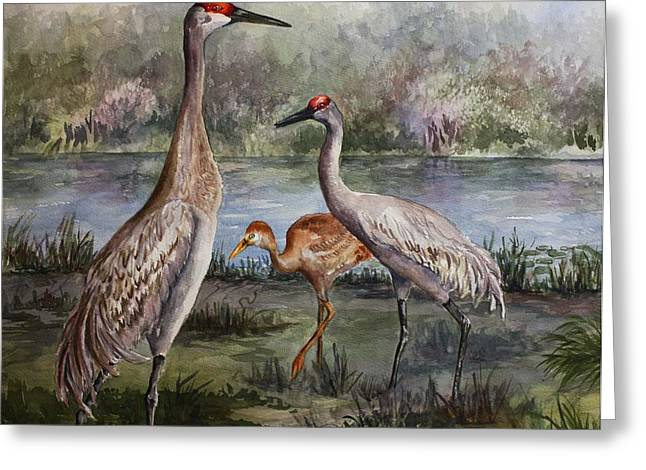 Sandhill Cranes Paintings Greeting Cards - Sandhill Cranes On Alert Greeting Card by Roxanne Tobaison