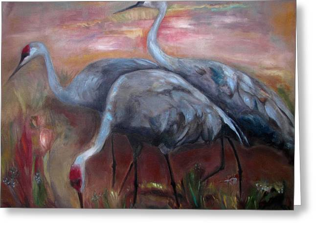 Sandhill Cranes Paintings Greeting Cards - Sandhill Cranes Greeting Card by Susan Hanlon