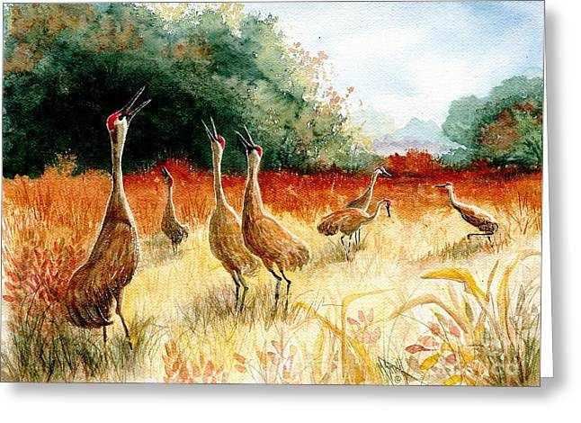 Sandhill Cranes Paintings Greeting Cards - Sandhill Serenade Greeting Card by Marilyn Smith