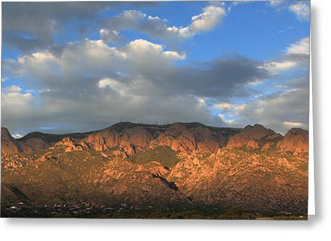 Watermelon Greeting Cards - Sandia Crest at Sunset Greeting Card by Alan Vance Ley