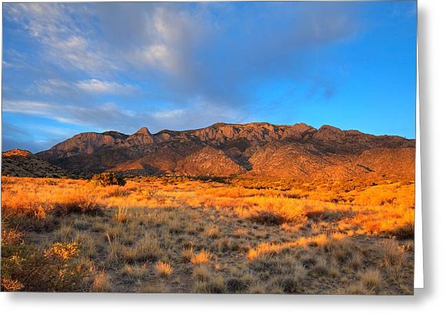 Watermelon Greeting Cards - Sandia Crest Sunset Greeting Card by Alan Vance Ley