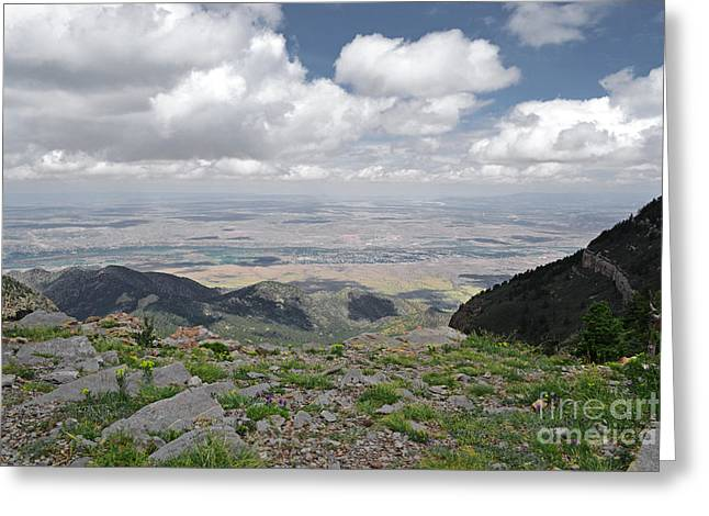 Sandias Greeting Cards - Sandia Crest View Greeting Card by Andrea Hazel Ihlefeld