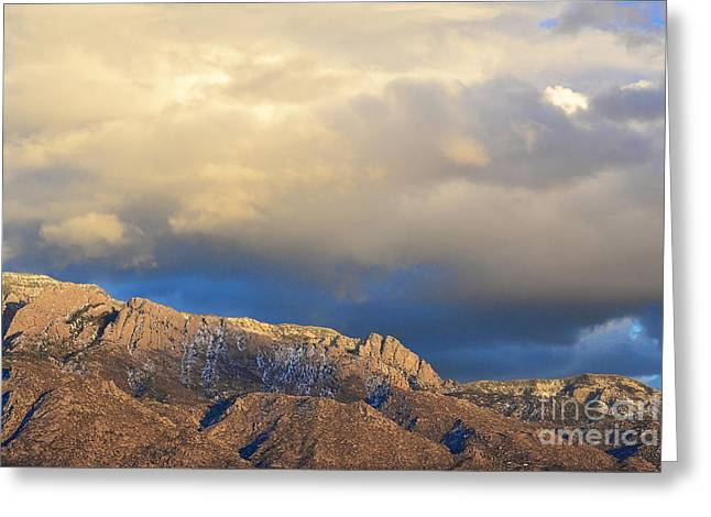 Sandia Mountains Greeting Cards - Sandia Mountain Sunset Clouds Greeting Card by Andrea Hazel Ihlefeld
