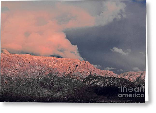 Sandias Greeting Cards - Sandia Mountain Watermelon Sunset Greeting Card by Andrea Hazel Ihlefeld