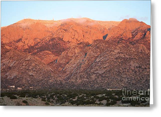 Sandia Mountains Greeting Cards - Sandia Mountains Autumn Sunset Greeting Card by Andrea Hazel Ihlefeld