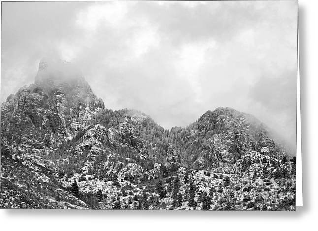 Sandia Mountains Greeting Cards - Sandia Mountains Peak Clouds Greeting Card by Andrea Hazel Ihlefeld