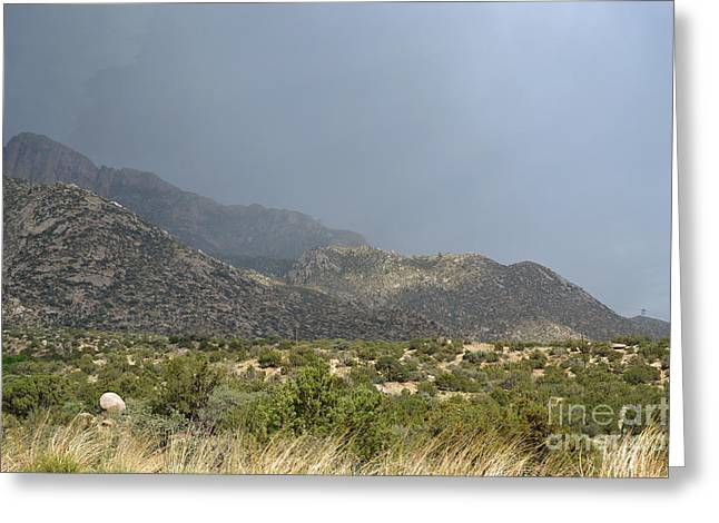 Sandias Greeting Cards - Sandia Mountains Spring Storm Greeting Card by Andrea Hazel Ihlefeld