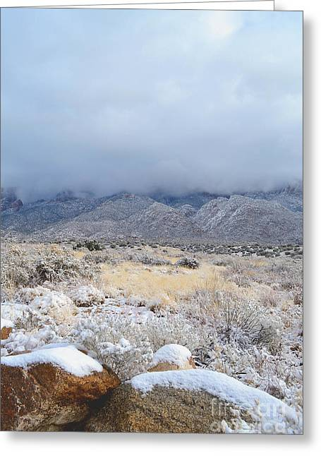 Sandias Greeting Cards - Sandia Mountains Valley Snow Greeting Card by Andrea Hazel Ihlefeld