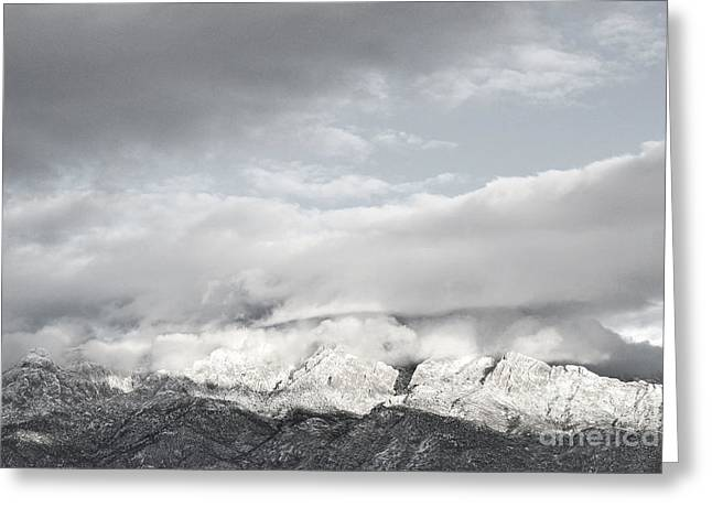 New Greeting Cards - Sandia Mountains Winter Clouds Greeting Card by Andrea Hazel Ihlefeld
