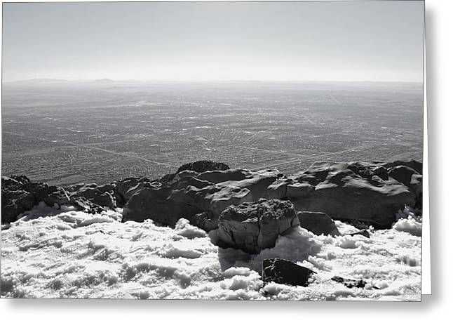 Sandias Greeting Cards - Sandia Peak Winter View Greeting Card by Andrea Hazel Ihlefeld