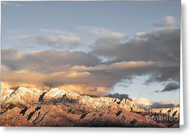 Sandia Mountains Greeting Cards - Sandia Rugged Range Greeting Card by Andrea Hazel Ihlefeld