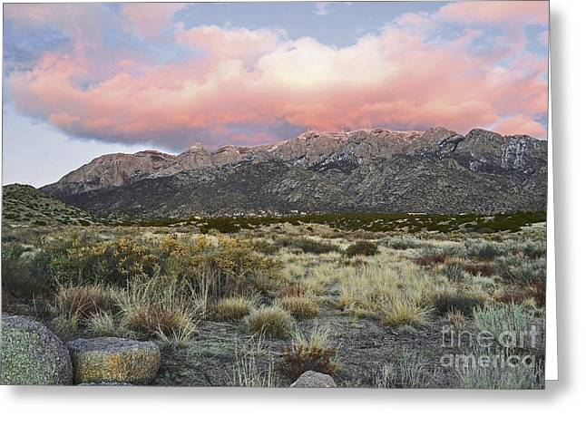 Sandias Greeting Cards - Sandia Sunset Mountain Greeting Card by Andrea Hazel Ihlefeld