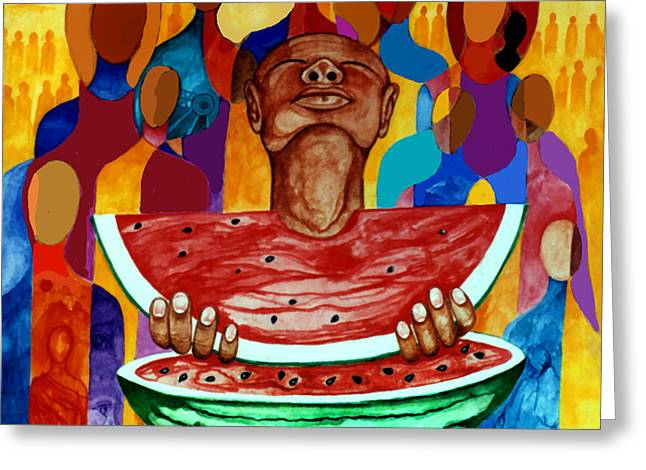 Melon Drawings Greeting Cards - Sandia Greeting Card by Vernon Rowlette