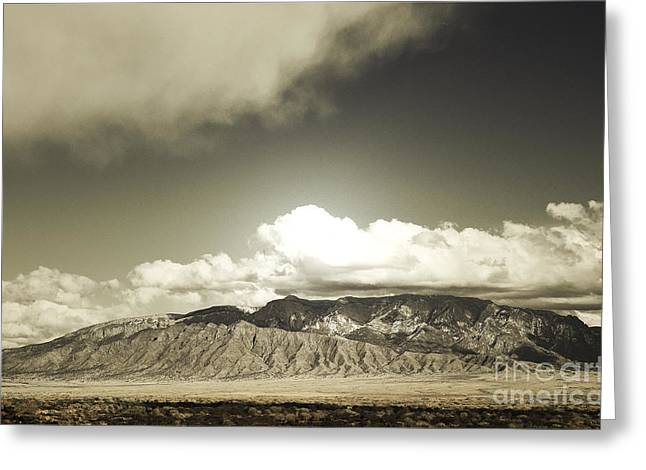 Sandias Greeting Cards - Sandia Winter Mountain Range Greeting Card by Andrea Hazel Ihlefeld