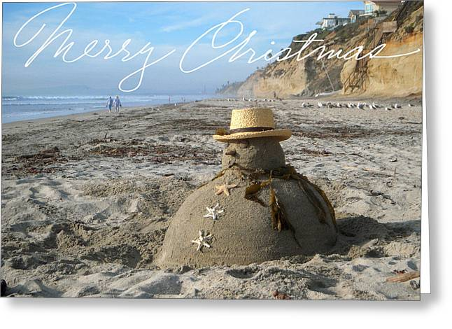 Best Sellers -  - California Beach Greeting Cards - Sandman Snowman Greeting Card by Mary Helmreich