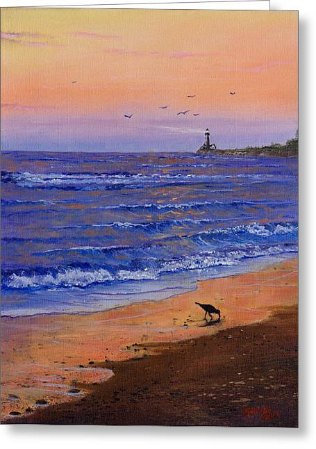 Bob Ross Paintings Greeting Cards - Sandpiper At Sunset Greeting Card by C Steele