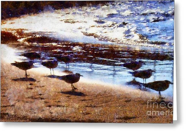 Sandpiper Greeting Cards - Sandpiper Brigade Greeting Card by Janine Riley