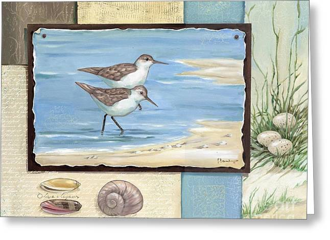 Sandpipers Greeting Cards - Sandpiper Collage I Greeting Card by Paul Brent